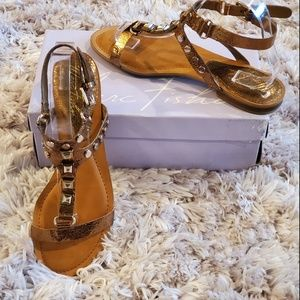 Marc Fisher Bronze and Gold Jeweled Sandals